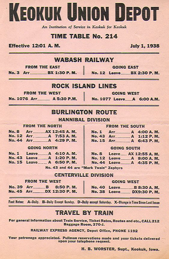 1938 Keokuk Union Depot Timetable